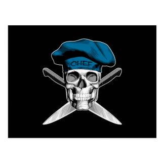 Schädel-und Kochs-Messer: Blauer Hut Postkarte