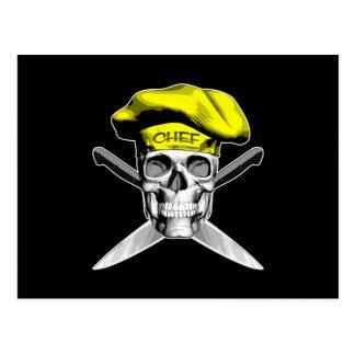 Schädel-und Kochs-Messer: Gelber Hut Postkarte