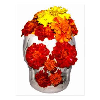 Schädel-und Ringelblumen-Blumen Postkarte