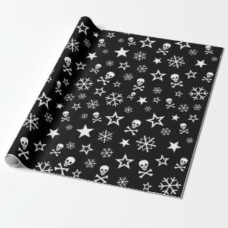 Schädel und Schneeflocken Geschenkpapier