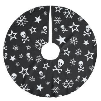 Schädel und Schneeflocken Polyester Weihnachtsbaumdecke
