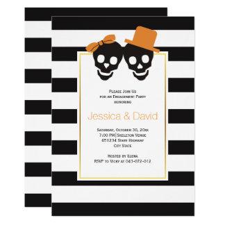 Schädelpaare Halloween-Hochzeits-Verlobungs-Party 12,7 X 17,8 Cm Einladungskarte