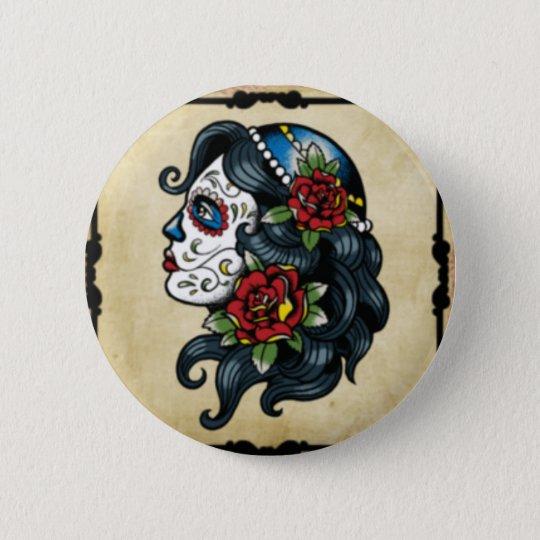 Schädeltätowierungsmädchen Runder Button 5,7 Cm