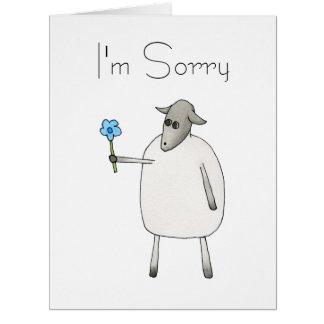 Schafe, die eine Blume, traurig geben Karte