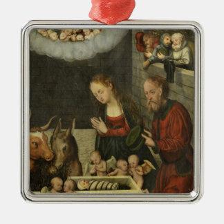 Schäfer, die Baby Jesus durch Cranach verehren Silbernes Ornament