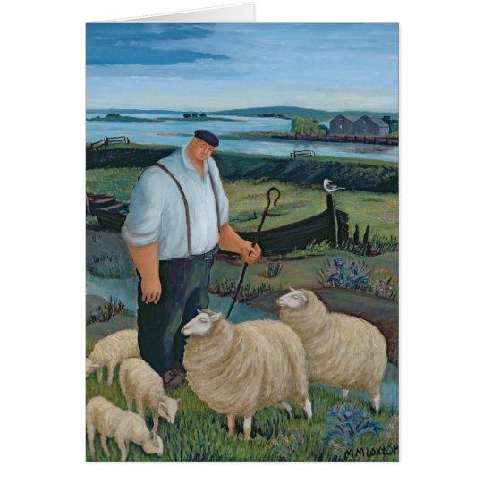 Schäfer mit Schafen in der Fluss-Landschaft Karte