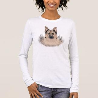 Schäferhund-Cartoon Langarm T-Shirt