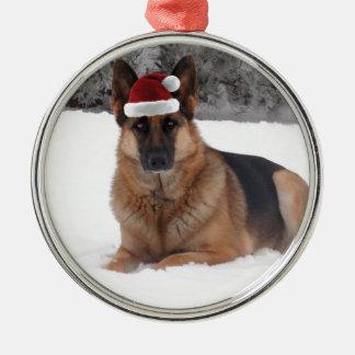 Schäferhund-Foto Silbernes Ornament