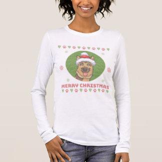 Schäferhund-frohe Weihnacht-Nadelspitzen-Strick Langarm T-Shirt