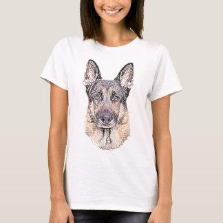 Schäferhund-Hund skizzierte Grafik T-Shirt