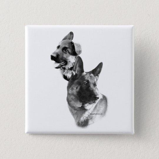 Schäferhund-Hundeholzkohle 2 Quadratischer Button 5,1 Cm