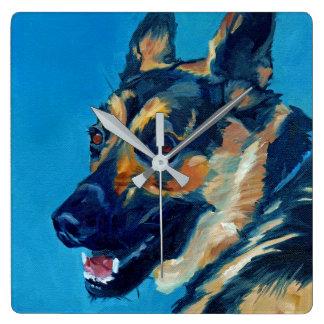 Schäferhund-HundeWanduhr Quadratische Wanduhr