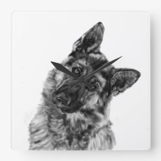 Schäferhund neugierig quadratische wanduhr