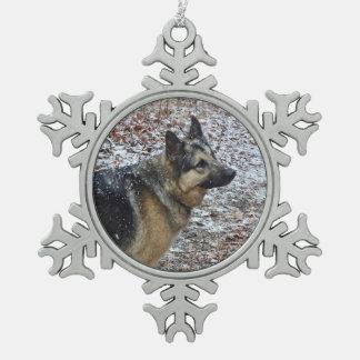 Schäferhund-Schneeflocke-Verzierung Schneeflocken Zinn-Ornament