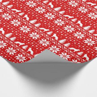 Schäferhund-Silhouette-Weihnachtsmuster-Rot Geschenkpapier