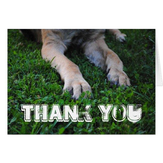 Schäferhund-Tatzen danken Ihnen zu kardieren Mitteilungskarte