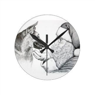 Schäferhund und Sankt Runde Wanduhr