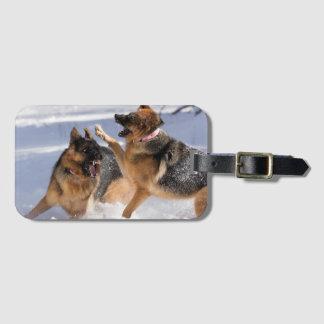 Schäferhunde, die im Schnee-Gepäckanhänger spielen Kofferanhänger