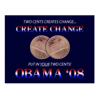 Schaffen Sie Änderung mit Obama Postkarte