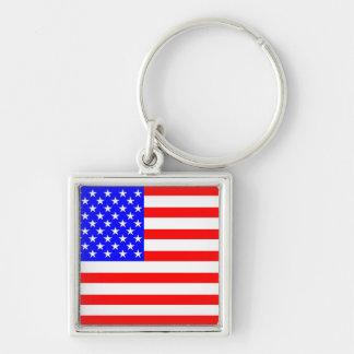 Schaffen Sie Ihr eigenes politisches Silberfarbener Quadratischer Schlüsselanhänger