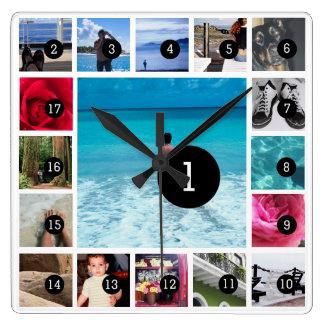 Schaffen Sie Ihre eigenen Bilder Foto Instagram Quadratische Wanduhr