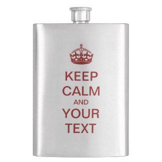 """Schaffen Sie Ihre Selbst """"BEHALTEN RUHE"""" Flasche! Flachmann"""