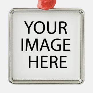 Schaffen Sie Ihren eigenen Entwurf u. Text:-) Quadratisches Silberfarbenes Ornament