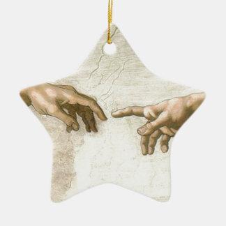 Schaffung von Adam-Händen - Michelangelo Keramik Stern-Ornament