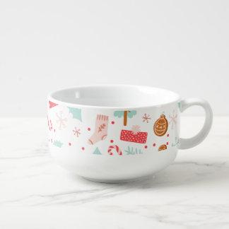 Schale der Beifall-Weihnachtsmuster-Suppenschüssel Große Suppentasse