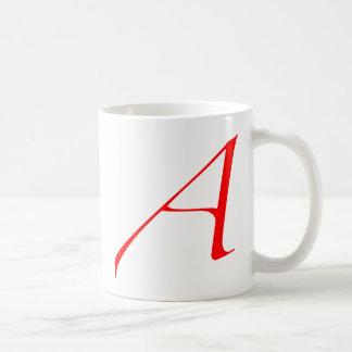 Scharlachrot Buchstabe A (für Atheisten) Kaffeetasse