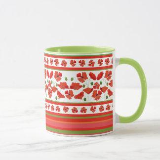 Scharlachrot Feld-Mohnblumen-Blumengrenze-auf Weiß Tasse