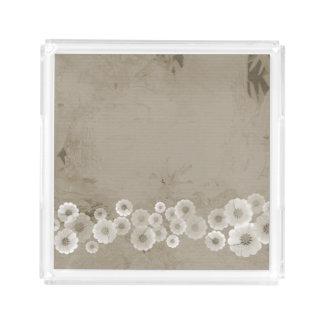 Schatten des Brown-Blumen-Quadrat-Acryl-Behälters Acryl Tablett