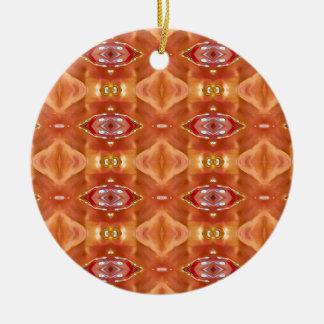 Schatten des orange Pfirsich-modernen festlichen Rundes Keramik Ornament