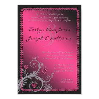 Schatz-rosa Hochzeits-Einladung ID169 12,7 X 17,8 Cm Einladungskarte