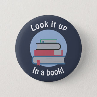 Schauen Sie es oben in einem Buch Runder Button 5,7 Cm