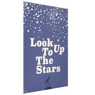 Schauen Sie oben zum Vintagen Plakat der Sterne Leinwanddruck