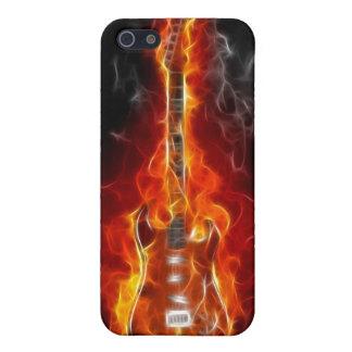 Schaukeln Sie u. rollen Sie Gitarre in Flammen Hülle Fürs iPhone 5