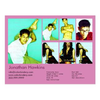 Schauspieler 2-Sided u. vorbildlicher rosa Postkarte