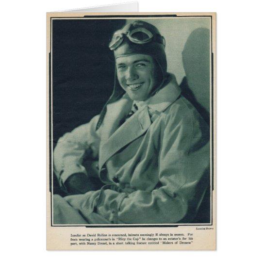 Schauspieler stillen Films Davids Rollins 1929 Grußkarte