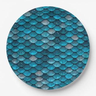 Schein-Glitter-blaue aquamarine Pappteller