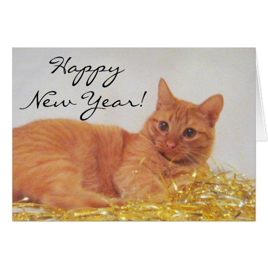 Schein-Katze 2009 guten Rutsch ins Neue Jahr-Karte Grußkarte
