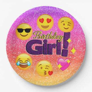 Schein Ombre Geburtstags-Mädchen Emoji Pappteller