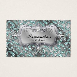 Schein-Schmuck-Geschäfts-Kartezebra-aquamarines Visitenkarte