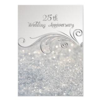 Schein-Silber 25. Wedding Anniversary-ver2 Karte