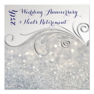 Schein Silber-IndigoText 25. Hochzeitstag Quadratische 13,3 Cm Einladungskarte