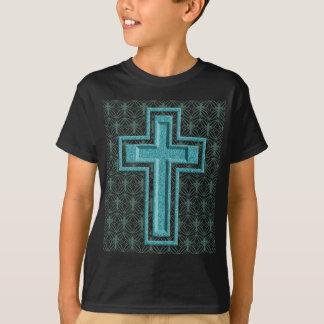 Schein-Türkis-Kreuz T-Shirt