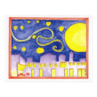 Scheinsternenklare Nacht u. Café van Gogh Postkarte