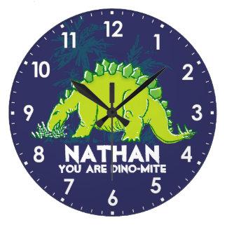 Scherzt Namenuhr des blauen Grüns Dinosaurier Große Wanduhr