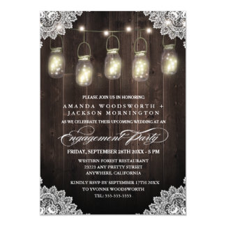 Scheunen-hölzerne Spitze-Maurer-Verlobungs-Party 12,7 X 17,8 Cm Einladungskarte