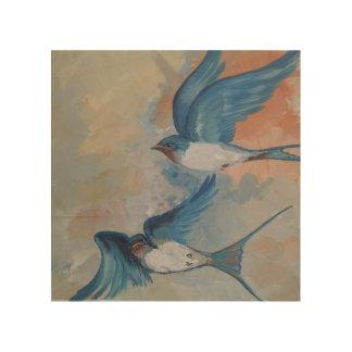 Scheunen-Schwalben-Vogel-hölzerne Wand-Kunst Holzdruck